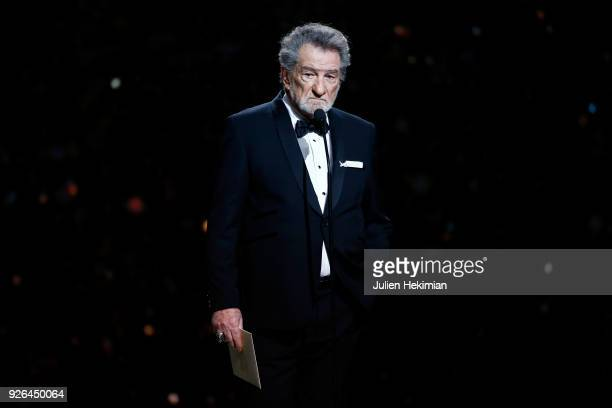 Eddy Mitchell poses on stage during the Cesar Film Awards 2018 at Salle Pleyel on March 2 2018 in Paris France