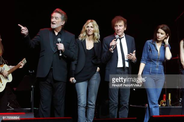 Eddy Mitchell Sandrine Kiberlain and Alain Souchon perform during the Charity Gala against Alzheimer's disease at Salle Pleyel on February 12 2018 in...