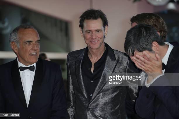 Eddy Moretti Venice Film Festival Director Alberto Barbera actor Jim Carrey director Chris Smith and producer Danny Gabai attend the premiere of the...
