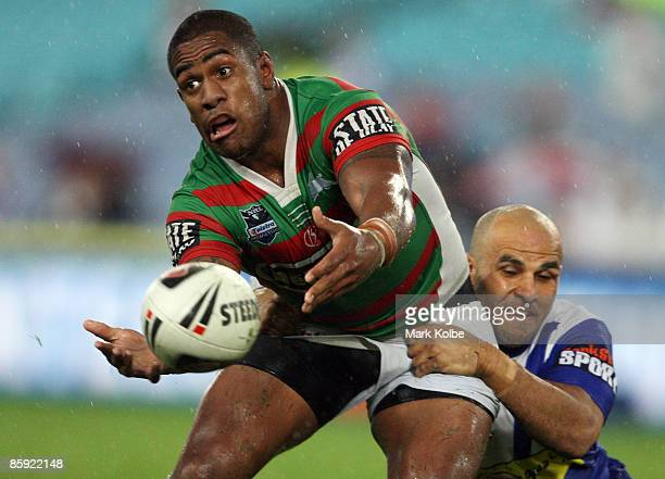 Eddy Pettybourne of the Rabbitohs gets a pass away during the round five NRL match between the Bulldogs and the South Sydney Rabbitohs at ANZ Stadium...