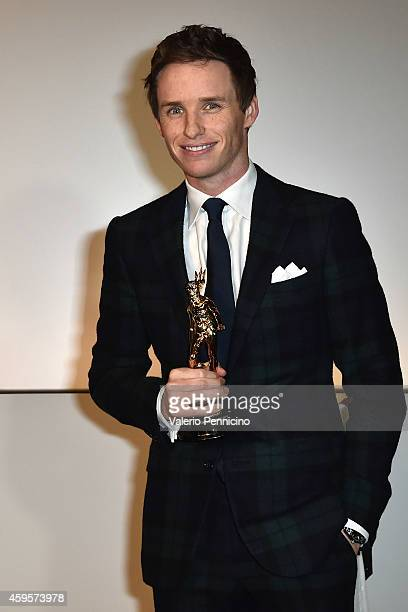 Eddy Redmayne receives the Maserati award during the 32nd Turin Film Festival on November 25 2014 in Turin Italy