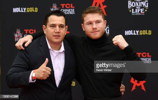 Eddy Reynoso and Canelo Alvarez attend the Hand and Footprint Ceremony for boxer Canelo Alvarez at TCL Chinese Theatre on March 20, 2021 in...