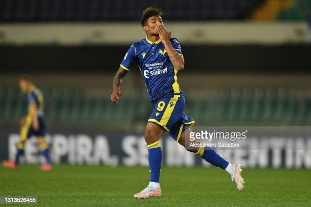 Eddy Salcedo of Hellas Verona F.C. Celebrates after scoring their team's first goal during the Serie A match between Hellas Verona FC and ACF...