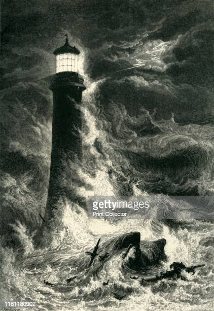 Eddystone Lighthouse' circa 1870 Smeaton's lighthouse at Eddystone Rocks on the English Channel remained in use until 1877 when erosion of the rocks...