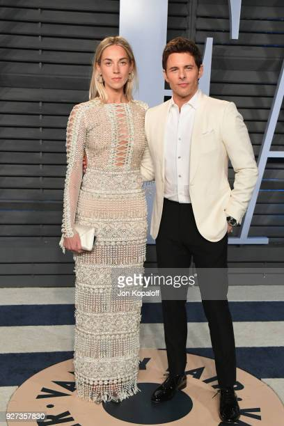 Edei and James Marsden attend the 2018 Vanity Fair Oscar Party hosted by Radhika Jones at Wallis Annenberg Center for the Performing Arts on March 4...