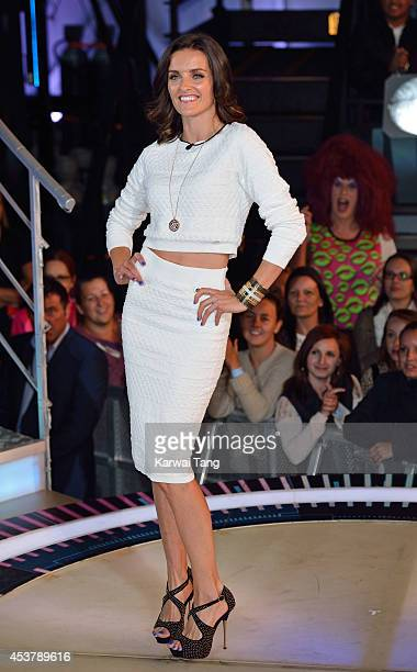Edele Lynch enters the Celebrity Big Brother house at Elstree Studios on August 18 2014 in Borehamwood England