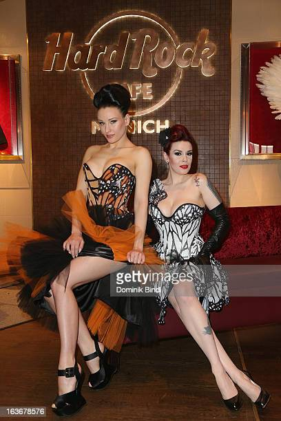 Eden and Lily of The Valley members of the music group The Sinderellas attend the opening of the exhibition Hard Rock Couture Music Inspired Fashion...