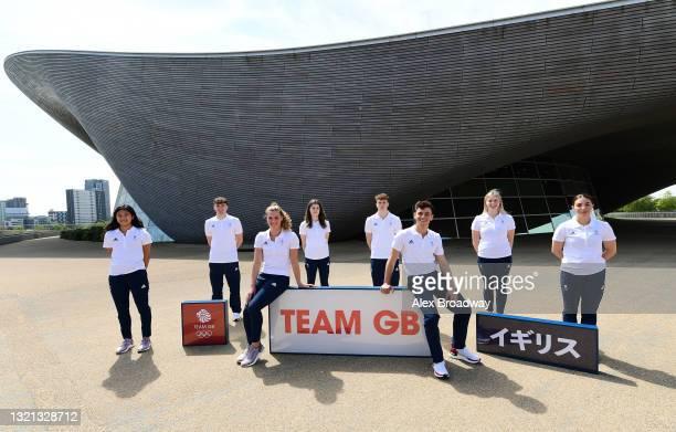 Eden Cheng, Matty Lee, Grace Reid, Andrea Spendolini-Sirieix, Noah Williams, Tom Daley, Kat Torrance and Scarlett Mew Jensen of Great Britain pose...