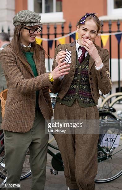 Eden Clark and Eleanor Weedon attend the Rugby Ralph Lauren Tweed Run in Covent Garden on November 26 2011 in London England