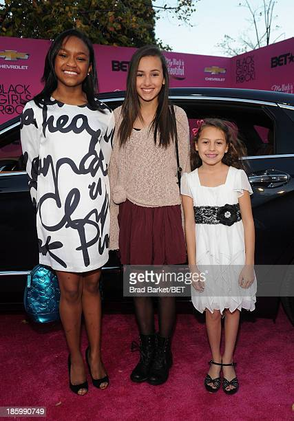 Eden Duncan Smith Amanda Troya and Nicolette Pierini from the cast of Annie attend BET Black Girls Rock arrivals presented by Chevy at New Jersey...