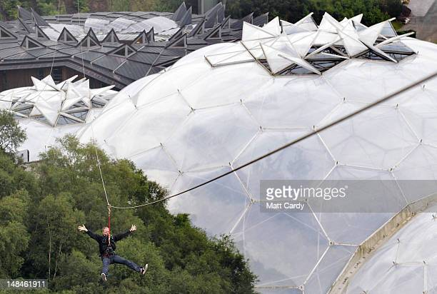 Eden employee Neil Stark tries out the SkyWire the new zip wire attraction which opens to the public this week at The Eden Project on July 17 2012 in...