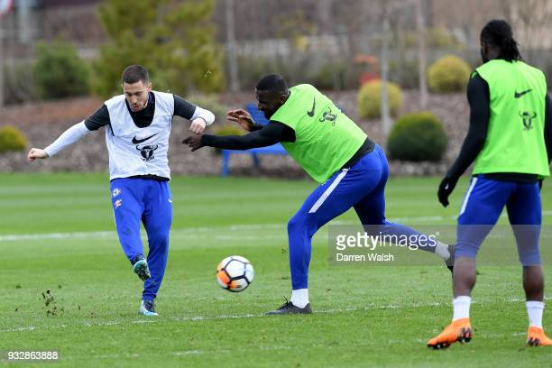 Eden Hazard and Antonio Rudiger of Chelsea during a training session at Chelsea Training Ground on March 16 2018 in Cobham United Kingdom