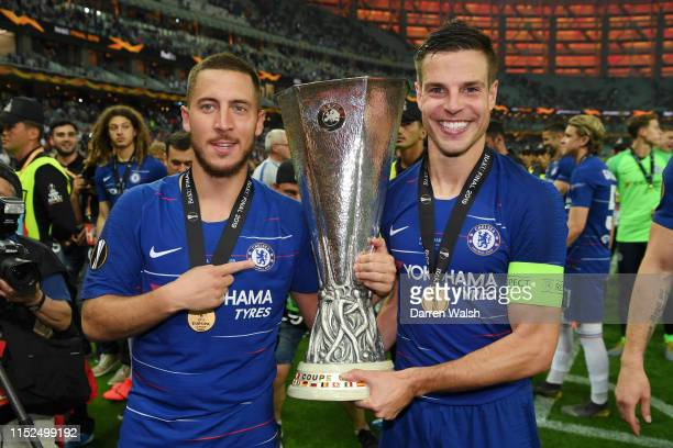 Eden Hazard and Cesar Azpilicueta of Chelsea celebrates with the Europa League Trophy following their team's victory in the UEFA Europa League Final...