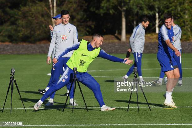 Eden Hazard and Cesar Azpilicueta of Chelsea during a training session at Chelsea Training Ground on October 19 2018 in Cobham England