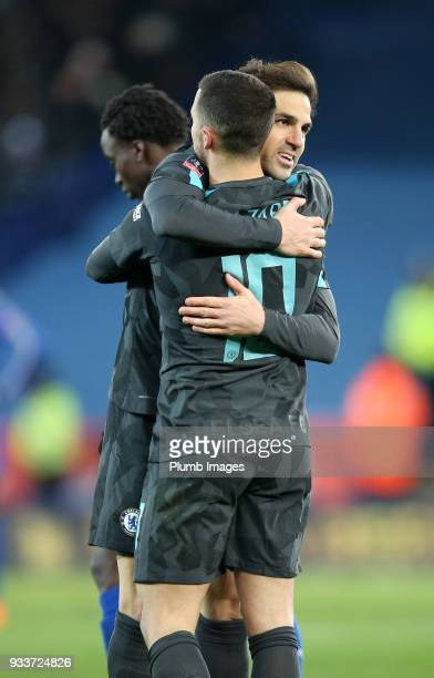 Eden Hazard and Cesc Fabregas of Chelsea celebrate after the final whistle of The Emirates FA Cup Quarter Final tie between Leicester City and...