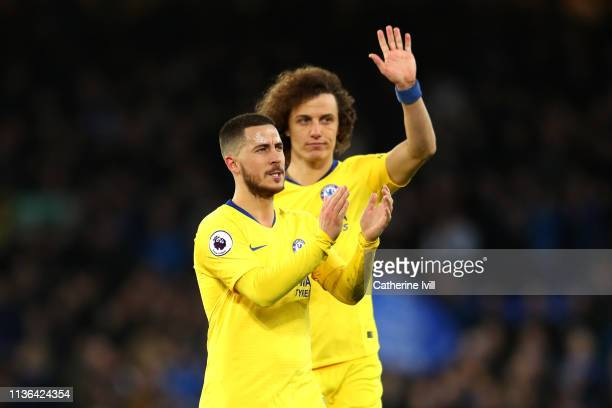 Eden Hazard and David Luiz of Chelsea applaud fans after the game during the Premier League match between Everton FC and Chelsea FC at Goodison Park...