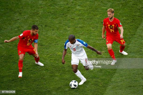 Eden Hazard and Dries Mertens of Belgium put pressure on Armando Cooper of Panama during the 2018 FIFA World Cup Russia group G match between Belgium...