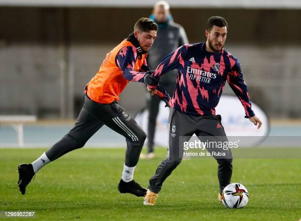 Eden Hazard and Fede Valverde training to prepare for the semifinal of the Spanish Super Cup at Ciudad de Málaga stadium on January 11, 2021 in...