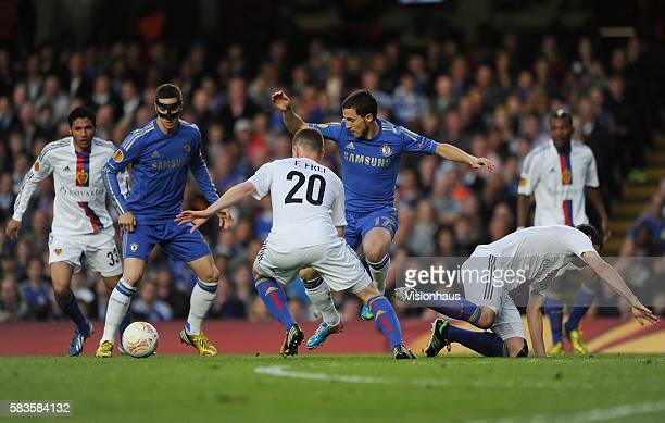 Eden Hazard and Fernando Torres of Chelsea and Fabien Frei and Fabien Schar of FC Basle during the Europa League SemiFinal 2nd Leg match between...