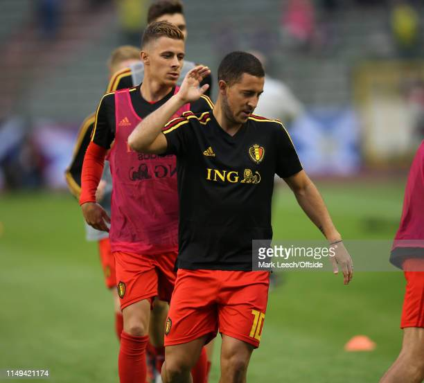 Eden Hazard and his brother Thorgan Hazard of Belgium warming up before the UEFA Euro 2020 qualifying match between Belgium and Scotland at King...