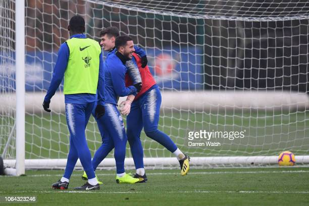 Eden Hazard and Kepa Arrizabalaga of Chelsea during a training session at Chelsea Training Ground on November 22 2018 in Cobham England