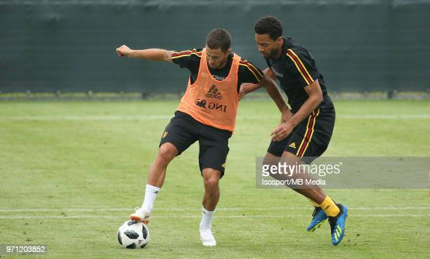 Eden HAZARD and Mousa DEMBELE pictured during a training session of the Belgian national soccer team ' Red Devils ' at the Belgian National Football...