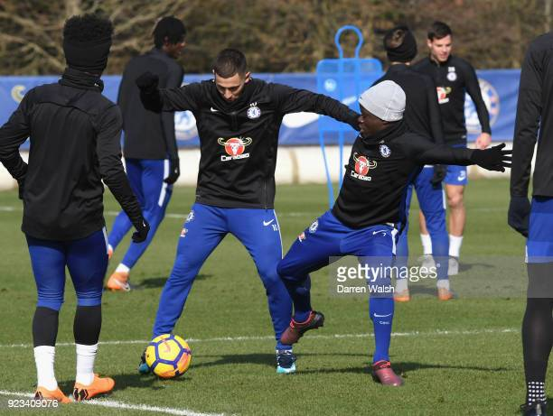 Eden Hazard and N'Golo Kante of Chelsea during a training session at Chelsea Training Ground on February 23 2018 in Cobham United Kingdom