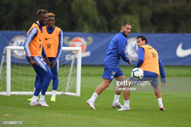 Eden Hazard and Pedro of Chelsea during a training session at Chelsea Training Ground on August 9 2018 in Cobham England