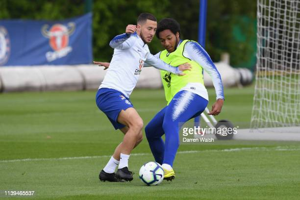 Eden Hazard and Richard Nartey of Chelsea during a training session at Chelsea Training Ground on April 26 2019 in Cobham England