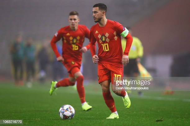 Eden Hazard and Thorgan Hazard of Belgium in action during the UEFA Nations League A group two match between Belgium and Iceland at King Baudouin...