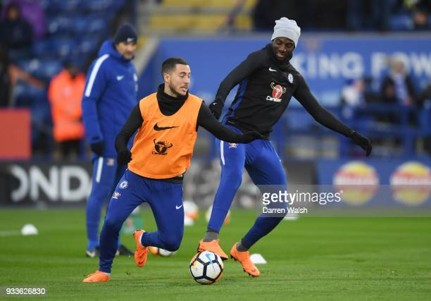 Eden Hazard and Tiemoue Bakayoko of Chelsea warm up prior to The Emirates FA Cup Quarter Final match between Leicester City and Chelsea at The King...
