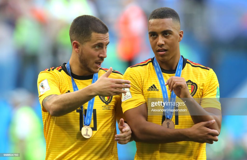 Eden Hazard And Youri Tielemans Of Belgium Celebrate After