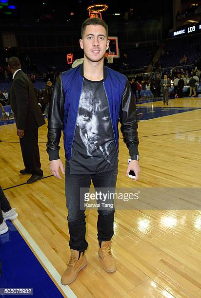 Eden Hazard attends the Orlando Magic vs Toronto Raptors NBA Global Game at The O2 Arena on January 14 2016 in London England