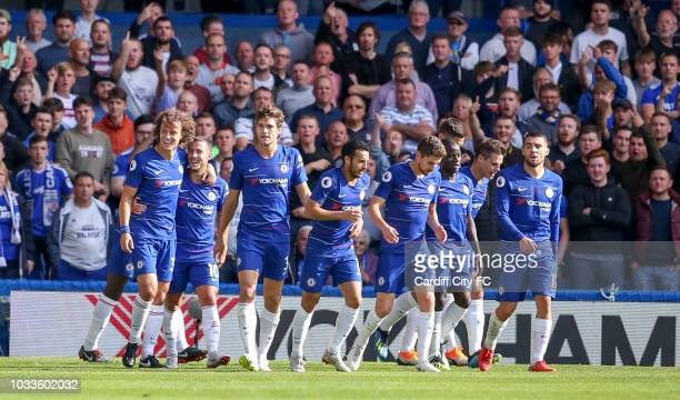 Eden Hazard celebrates the second goal for Chelsea during the Premier League match between Chelsea FC and Cardiff City at Stamford Bridge on...