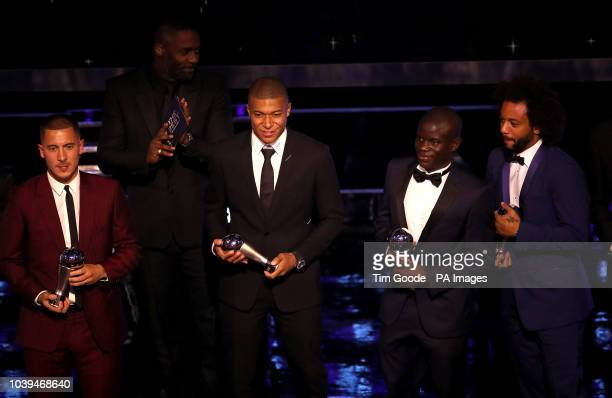 Eden Hazard Kylian Mbappe N'golo Kante and Marcelo collect their FIFA FIFPro World 11 Awards during the Best FIFA Football Awards 2018 at the Royal...
