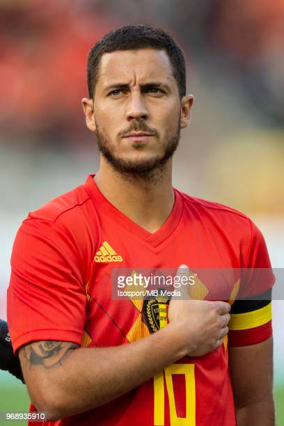 Eden HAZARD line up before a friendly game between Belgium and Portugal as part of preparations for the 2018 FIFA World Cup in Russia on June 2 2018...