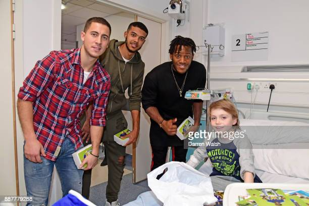 Eden Hazard Michy Batshuayi and Jake ClarkeSalter of Chelsea at the Chelsea and Westminster Christmas Hospital visit on December 7 2017 in London...