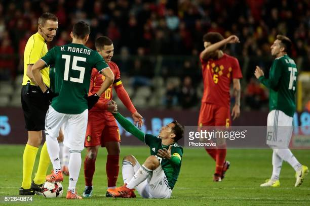 Eden Hazard midfielder of Belgium and Andres Guardado midfielder of Mexico during a FIFA international friendly match between Belgium and Mexico at...