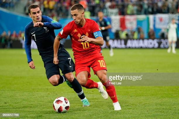 Eden Hazard midfielder of Belgium and Antoine Griezmann midfielder of France during the FIFA 2018 World Cup Russia SemiFinal match between France and...