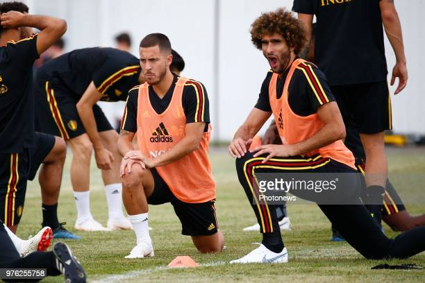 Eden Hazard midfielder of Belgium and Marouane Fellaini midfielder of Belgium pictured during a training session of the National Soccer Team of...