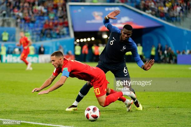 Eden Hazard midfielder of Belgium and Paul Pogba midfielder of France during the FIFA 2018 World Cup Russia Semi-Final match between France and...
