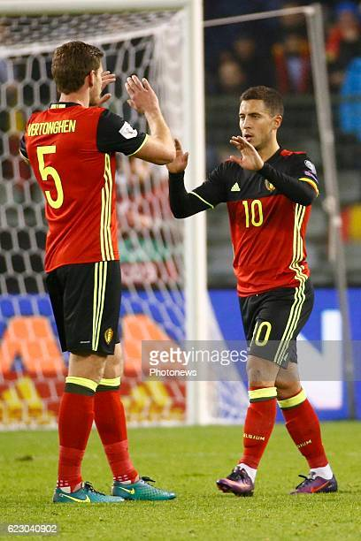 Eden Hazard midfielder of Belgium celebrates during the World Cup Qualifier Group H match between Belgium and Estonia at the King Baudouin Stadium on...