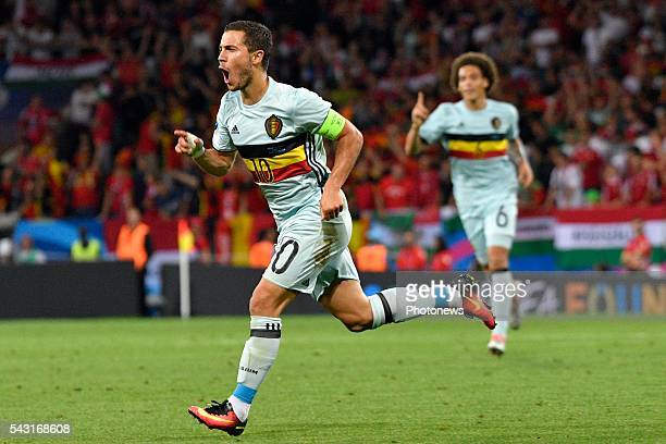Eden Hazard midfielder of Belgium celebrates scoring a goal during the UEFA EURO 2016 Round of 16 match between Hungary and Belgium at the Stadium...