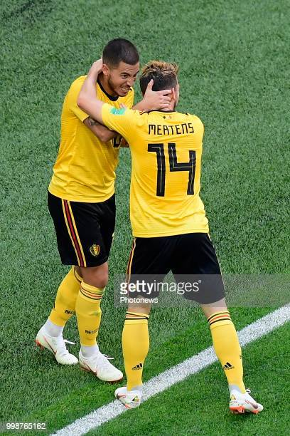 Eden Hazard midfielder of Belgium celebrates scoring a goal with teammates Dries Mertens forward of Belgium during the FIFA 2018 World Cup Russia...