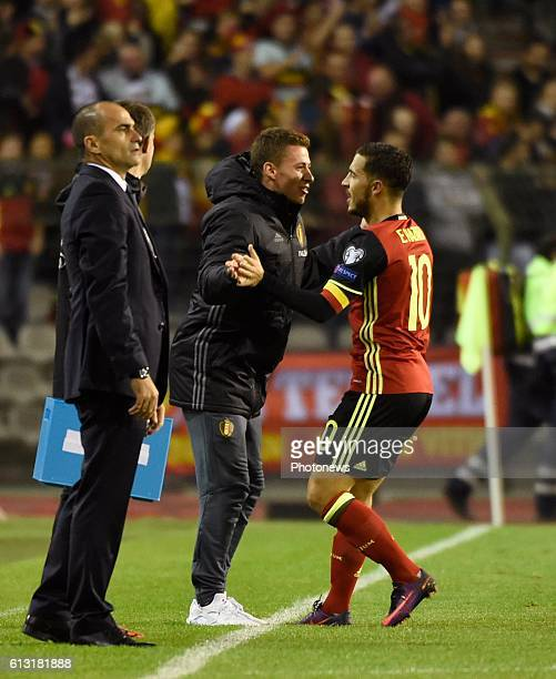 Eden Hazard midfielder of Belgium celebrates withhis brother Thorgan after scoring during the World Cup Qualifier Group H match between Belgium and...