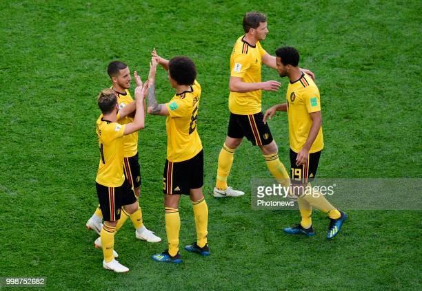 Eden Hazard midfielder of Belgium Dries Mertens forward of Belgium Axel Witsel midfielder of Belgium during the FIFA 2018 World Cup Russia Playoff...