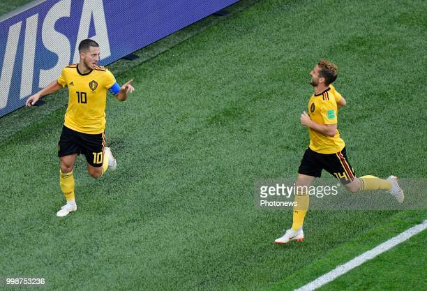 Eden Hazard midfielder of Belgium Dries Mertens forward of Belgium during the FIFA 2018 World Cup Russia Playoff for third place match between...