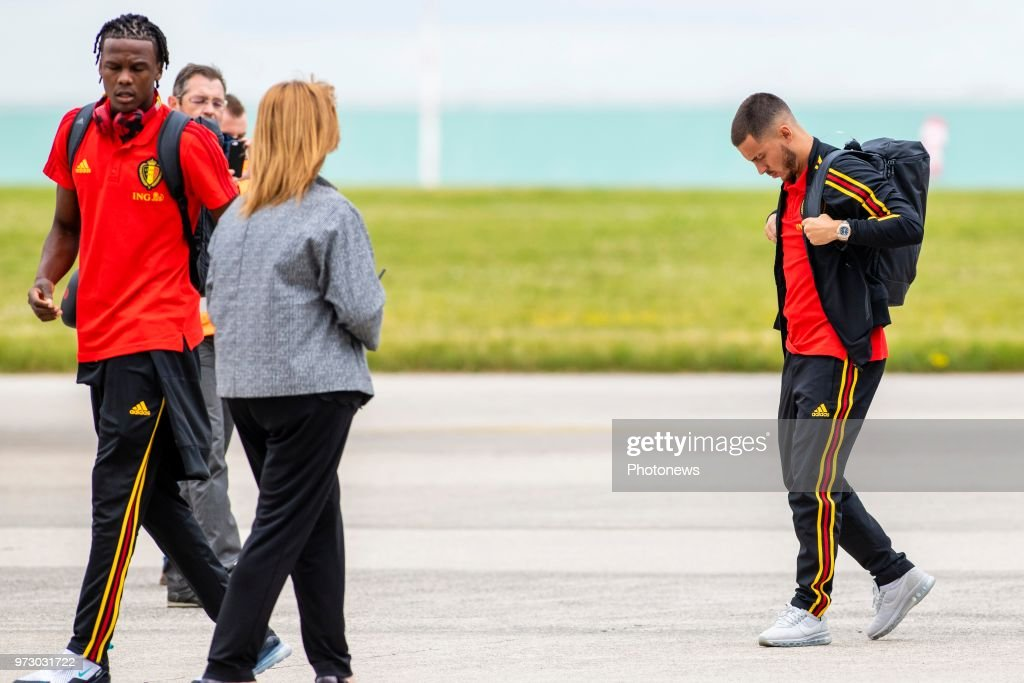 Eden Hazard midfielder of Belgium during the departure of the National Football Team of Belgium to the FIFA 2018 World Cup Football in Russia at Zaventem Airport on June 13, 2018 in Brussels, Belgium,