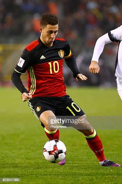 Eden Hazard midfielder of Belgium during the World Cup Qualifier Group H match between Belgium and Estonia at the King Baudouin Stadium on November...