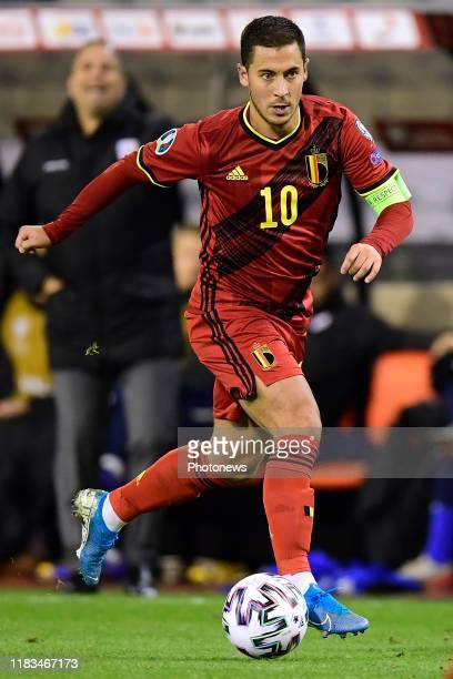 Eden Hazard midfielder of Belgium in action during the Euro 2020 group I qualifying match Belgium against Cyprus on November 19, 2019 in Brussels,...